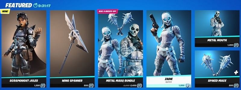 The Scrapknight Jules and the Metal Masque bundle can be found in the Featured section in the Fortnite item shop. Image via Epic Games.